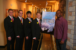 NC State Walt Disney Imagineering ImagiNations Design Competition team members Kyle Thompson, Michael Habersetzer, Andy Park, and Brian Gaudio with Imagineering mentor Billy Almon (left to right). Photo credit: Gary Krueger, Walt Disney Imagineering.