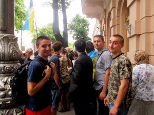 Shymonyak (left) as an objective observer at a protest outside of the Verkhovna Rada (Ukrainian Parliament) in Kyiv, Ukraine.
