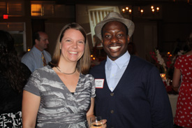 Kasey Phillips '08 and Isaac Owolabi '09 reconnect during the reunion weekend.