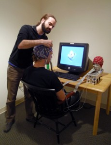 Alex Schlegel during a cognitive neuroscience study at Dartmouth College.