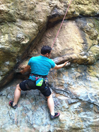 Remy Roque '06 rock climbing, a favorite hobby – Photo © Peter Li