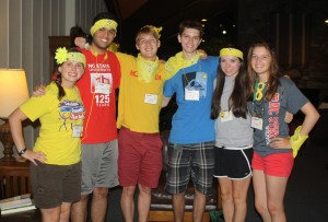 Alton Russell '14 (third from left) with the small group he facilitated during the Park Class of 2017 Freshman Retreat