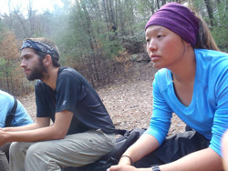 Kat Griffin '11 (right) on a backpacking trek in western N.C.