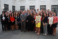 The Class of 2017 gathered with the Honorable Antonin Scalia, one of their Learning Lab II speakers, at the U.S. Supreme Court Building.