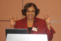 Dr. Wanda Ward of the National Science Foundation showed some Wolfpack spirit during her meeting with the Class of 2017!