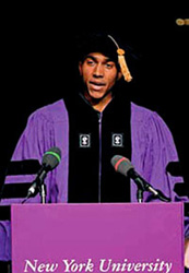 Brandon Buskey addresses his fellow New York University School of Law graduates at commencement. Buskey was nominated by his classmates for this honor.