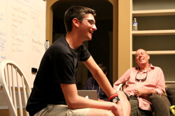 Mark DeMaria '17 pitching a script idea to his Summer Institute classmates and Rory Kelly, assistant professor in the UCLA School of Theater, Film and Television – summer 2014