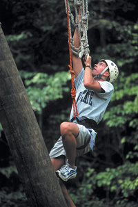 Daniel Malechuk '03 on the high ropes course during his Park Scholarships Freshman Retreat - August 1999