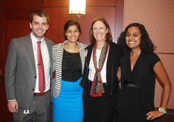 Joshua Chappell '14, Pooja Sarin '13, and Meera Venkataraman '14 with their Deloitte colleague Dr. Teresa Cooper, who served as a speaker during the Park Class of 2017's Learning Laboratory II in Washington, D.C.