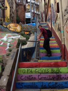 Carter Ellis '15 in the colorful streets of Valparaíso, Chile