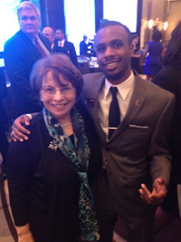 Jalen Feaster '16 (right) with Phylis Eagle-Oldson, President and CEO of the Emma Bowen Foundation – June 2014