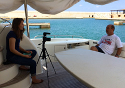 Laila Knio '17 interviewing Mohamed Mezher, recipient of the Albert Pierce Medal of Heroism, in Beirut, Lebanon – August 2014