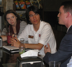 Zack Hester '11 (right) speaks with Park Scholars about career opportunities in STEM during their Learning Lab II in Washington, D.C.