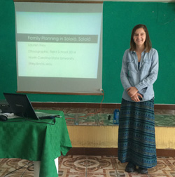 Lauren Frey '17 in Panajachel, Guatemala, presenting her research on family planning - Summer 2014