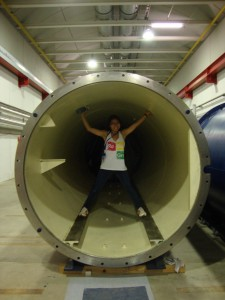 Mia de los Reyes '16 at the European Center for Nuclear Research (CERN) in Geneva, Switzerland, where she interned during summer 2014 and will return this summer.