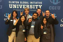 NC State's delegation to CGI U 2015: Alex Kim '17, Mumta Essarani, Chandler Gonzales '18, Charan Mohan '15, Alex Brown '17, Supriya Sadagopan, and Director of NC State's Center for Student Leadership, Ethics & Public Services (CSLEPS) Mike Giancola