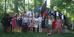 The Park Class of 2015 gathered among the wolf statues during their Senior Gala at the Dorothy and Roy Park Alumni Center.