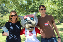 Billy Askey '05 and wife Sara (Anderson) Askey '05 with NC State's own Ms. Wuf during the Park Alumni Society Reunion – Fall 2012