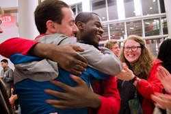 Nate Bridgers and Khari Cyrus '16 celebrate news of their election victory - Photo © Kai McNeil of The Technician