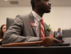 Khari Cyrus '16 being inducted into office as Student Body President for 2015-2016 - Spring 2015