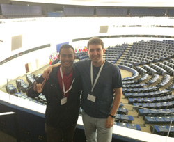 NC State Delegates Ryan King '15 and Taufik Raharjo '16 visiting the official seat of the European Parliament - April 2015