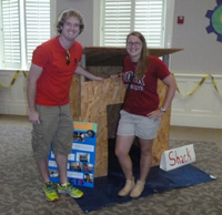 Kevin Quick '15 and Sarah Paluskiewicz '16 taught children about poverty and constructed a mini-shack with them during Edenton United Methodist's Vacation Bible School - Summer 2014