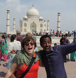 BJ Ward '09 outside India's Taj Mahal - 2014