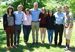 Dr. Lisa Bullard (third from left) and Dr. Michael Dickey (second from right) with Park Scholar chemical engineering majors Caiti Cremer '15, Thomas Pulliam '16, Chris Cooper '17, Katie Nagley '16, Avi Aggarwal '16, and Brentley Hovey '17