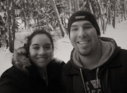 Jezzette Rivera '10 on a recent trip to Alaska, where she experienced ice fishing for the first time.