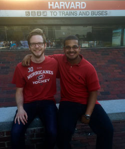 Evan Brooks '18 with alumni mentor (and current Harvard graduate student) Ian Hill '13 in Boston - Summer 2015