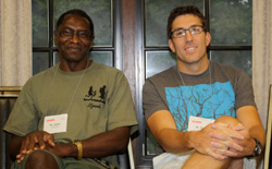 Dr. James Kiwanuka-Tondo (left) with fellow Park Faculty Scholar for the Class of 2016 Dr. Derek Aday - Fall 2012
