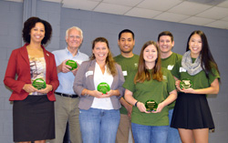 Dr. Bob Patterson (second from left) and Annie Lopez '17 (front row, second from right) were among NC State's 2016 Green Brick Award recipients