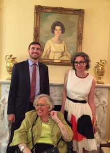 Will Quick '07 (left) at the White House with director and vice provost of the libraries Susan Nutter (seated) and film studies associate professor Marsha Gordon