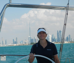 Carrie Farley '00 off the coast of Dubai