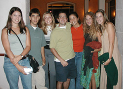 Daniel Hoag '03 (center) with fellow members of the Park Class of 2003 Kirsten Collings, Steve Thompson, Erin (Powell) Ennis, Kelly Mahoney, Carrie Crowder-Cheek, and Angela Traurig at a study abroad going-away dinner