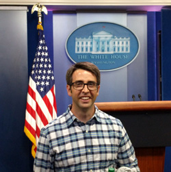 Daniel Hoag '03 in the White House Press Room during a recent work trip
