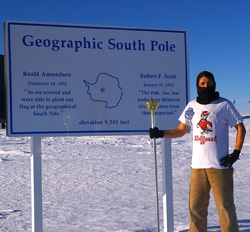 Ryan R. Neely, III '09 at the South Pole on a trip to examine aerosol, clouds and ozone over Antarctica during his graduate studies. – January 2012