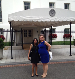 Richa Patel '18 (left) with her internship supervisor, Irina Pala, outside the West Wing of the White House – Summer 2016