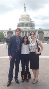 Richa Patel '18 (center) with fellow State Department interns in front of the U.S. Capitol – Summer 2016