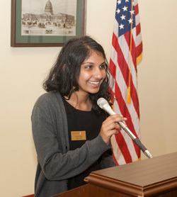 As a member of the Park Class of 2018 Learning Laboratory II planning committee, Richa Patel introduced several speakers during the trip. – Fall 2015