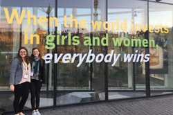 Morgan Barbre '19 and Cambray Smith '18 at the Women Deliver conference in Copenhagen, Denmark – May 2016
