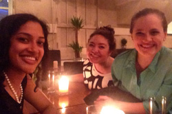 Morgan Barbre '19 and Cambray Smith '18 bonded with Women Deliver presenter Lianne Gonsalves '10 (left) during their time in Copenhagen – May 2016