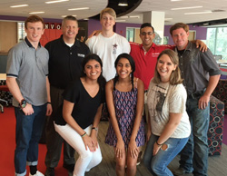 "(Front row): Neelam Modi '18, Sammi Fernandes '17, and donor Emily Douglass; (back row) donor Joshua Ewy, DKMS donor recruitment manager Bob Murray, donor Jordan Cousins, Rizwan Dard '17, and donor William ""Stevie"" Mizell came together for a press conference. – August 2016"