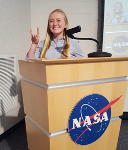 Alina Creamer '20 presenting the results of her research for the OA-5 Antares Mission Launch Availability Study