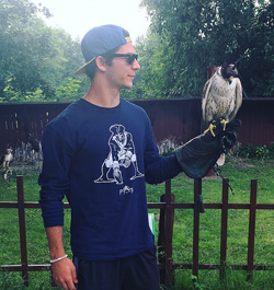 Christian Fuda '18 up close and personal with a falcon during his study abroad in Prague