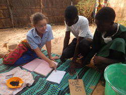 Erika Gutierrez '09 giving French and mathematics lessons in Senegal
