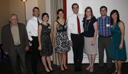 Dr. Gerald Elkan (left) with members of the Class of 2002 during a 2012 Park Scholarships Reunion