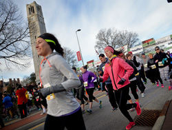 The Krispy Kreme Challenge begins and ends at NC State's memorial belltower.