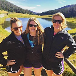 Liv Adams '16 (right) with Stephanie Wenclawski '16 and Katie Nagley '16 during their Park Scholarships senior retreat in Colorado - Fall 2015