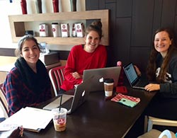 Emma Thompson '17 (left) and Civic Engagement Initiative teammates Allyson Patterson '18 and Cambray Smith '18 developed an expansion plan for Women Influencing Lives through Literature